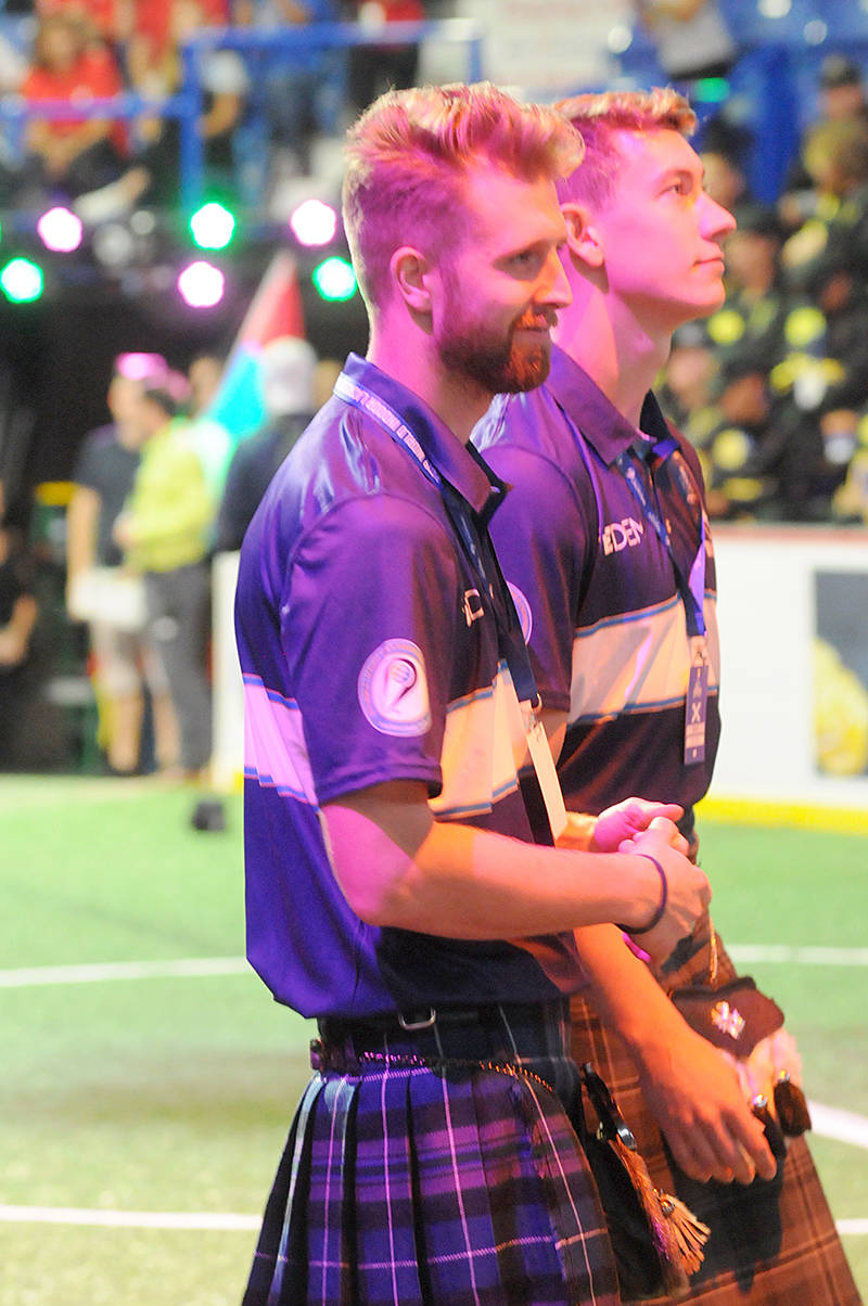 Team Scotland at the World Lacrosse Men's Indoor Championship opening ceremony Wednesday afternoon at the Langley Events Centre. (Dan Ferguson/Langley Advance Times)