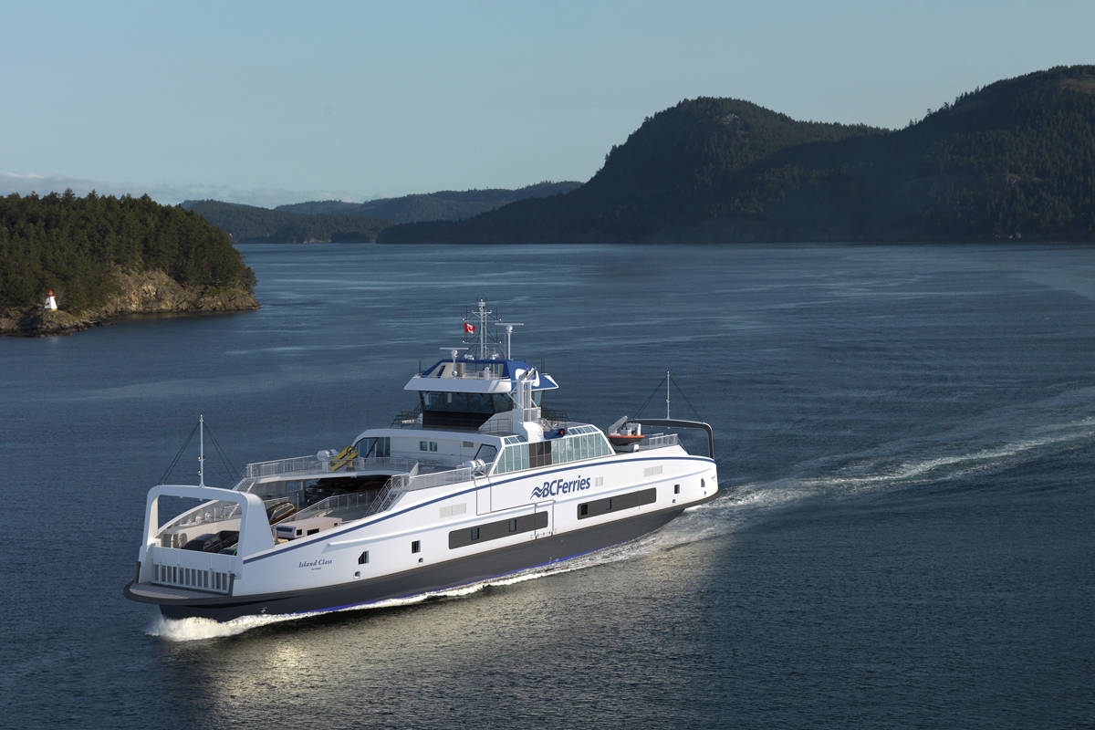 An artist rendering of B.C. Ferries' new Island Class ferry, which will be deployed on the Nanaimo-Gabriola route by 2022. (B.C. Ferries image)