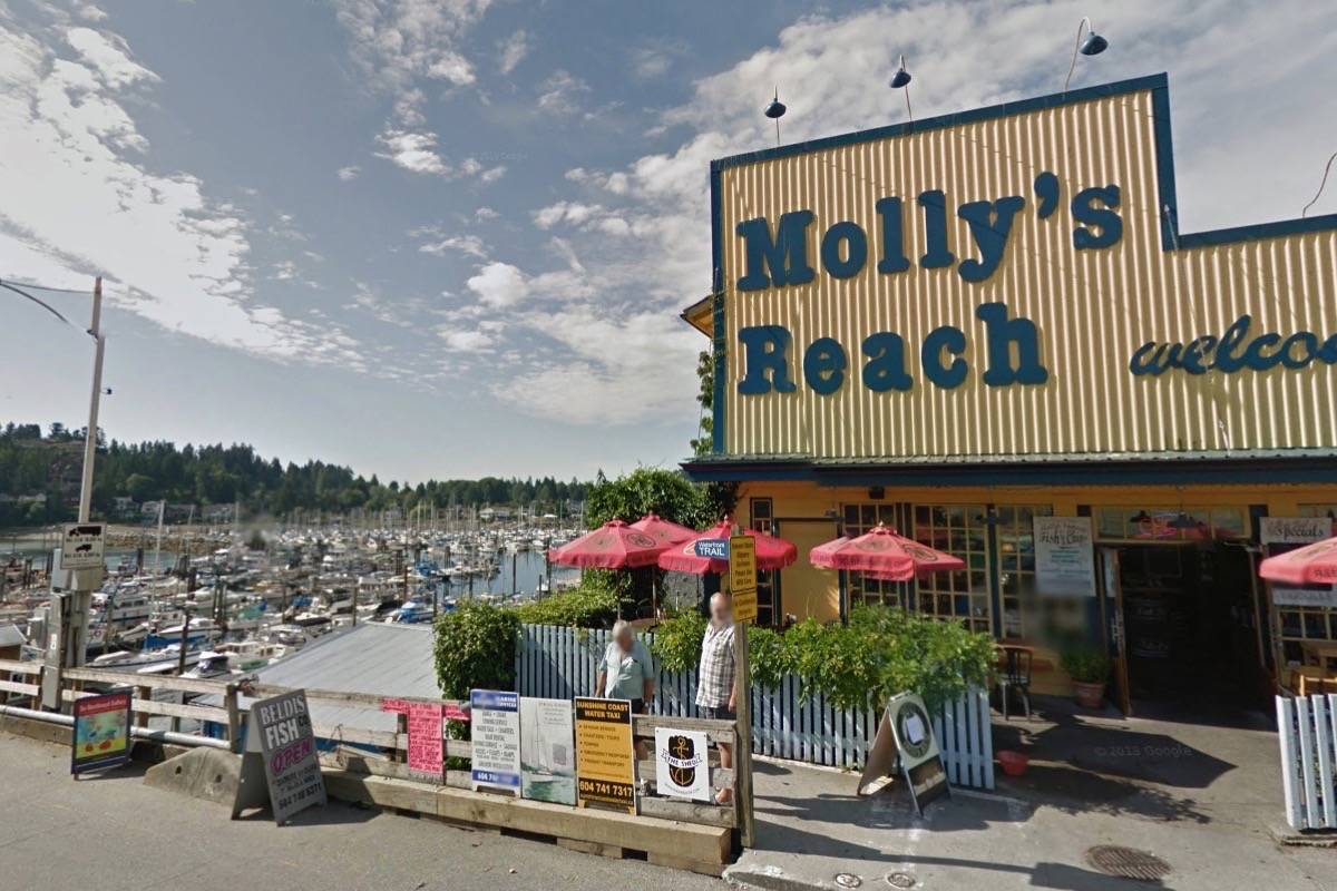 Molly's Reach Restaurant, a chief location in Canadian television series The Beachcombers, is now available for lease in Gibsons, B.C. (Google Street View)