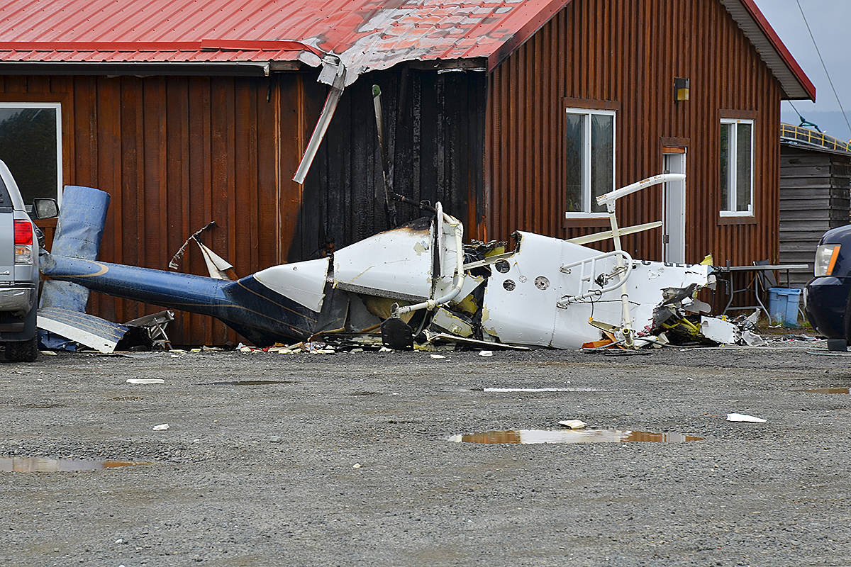 One person was killed in a helicopter crash at the Tyee Spit in Campbell River Sept. 24. The fuselage of the helicopter came down close to a carving shed on the Wei Wai Kum First Nation reserve causing it to catch fire as well. Photo by Alistair Taylor/Campbell River Mirror