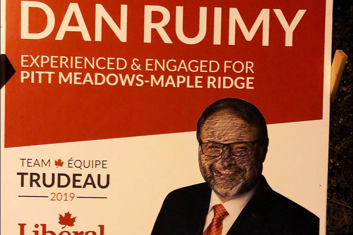 Federal Liberal candidate Dan Ruimy's sign was vandalized with blackface on Sept. 24, 2019. (Contributed)