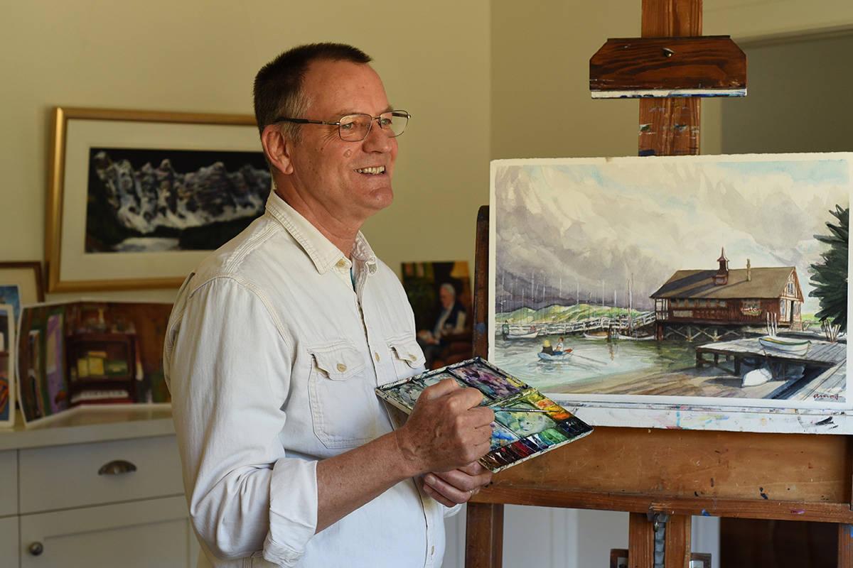 Artist Robert Amos paints Victoria