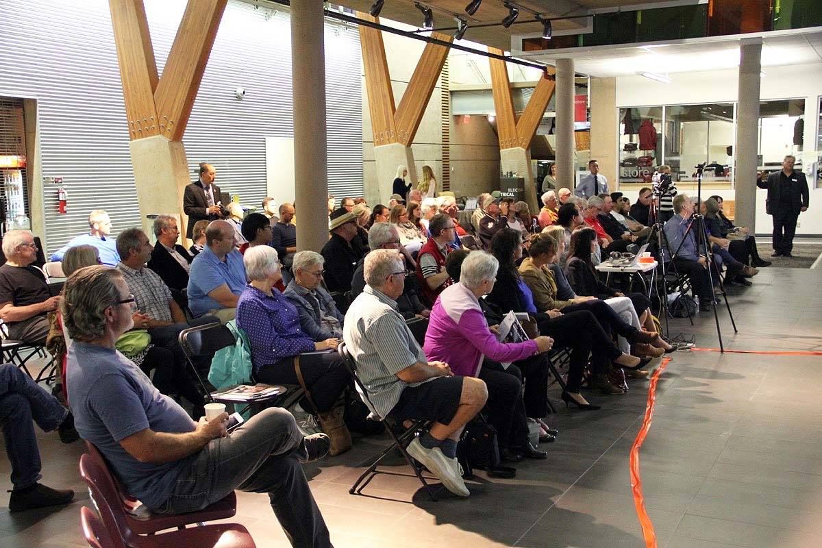 Hosted by the Cloverdale District Chamber of Commerce, about 100 people attended the all-candidates meeting held at KPU-Cloverdale.