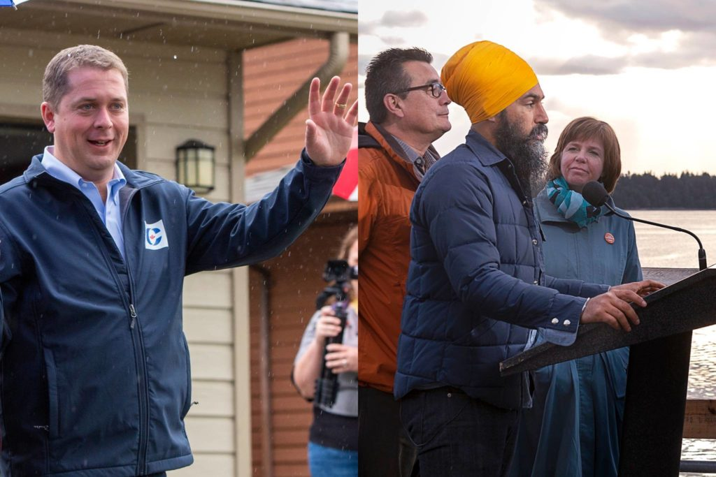 Conservative Leader Andrew Scheer and NDP Leader Jagmeet Singh. (The Canadian Press photos)