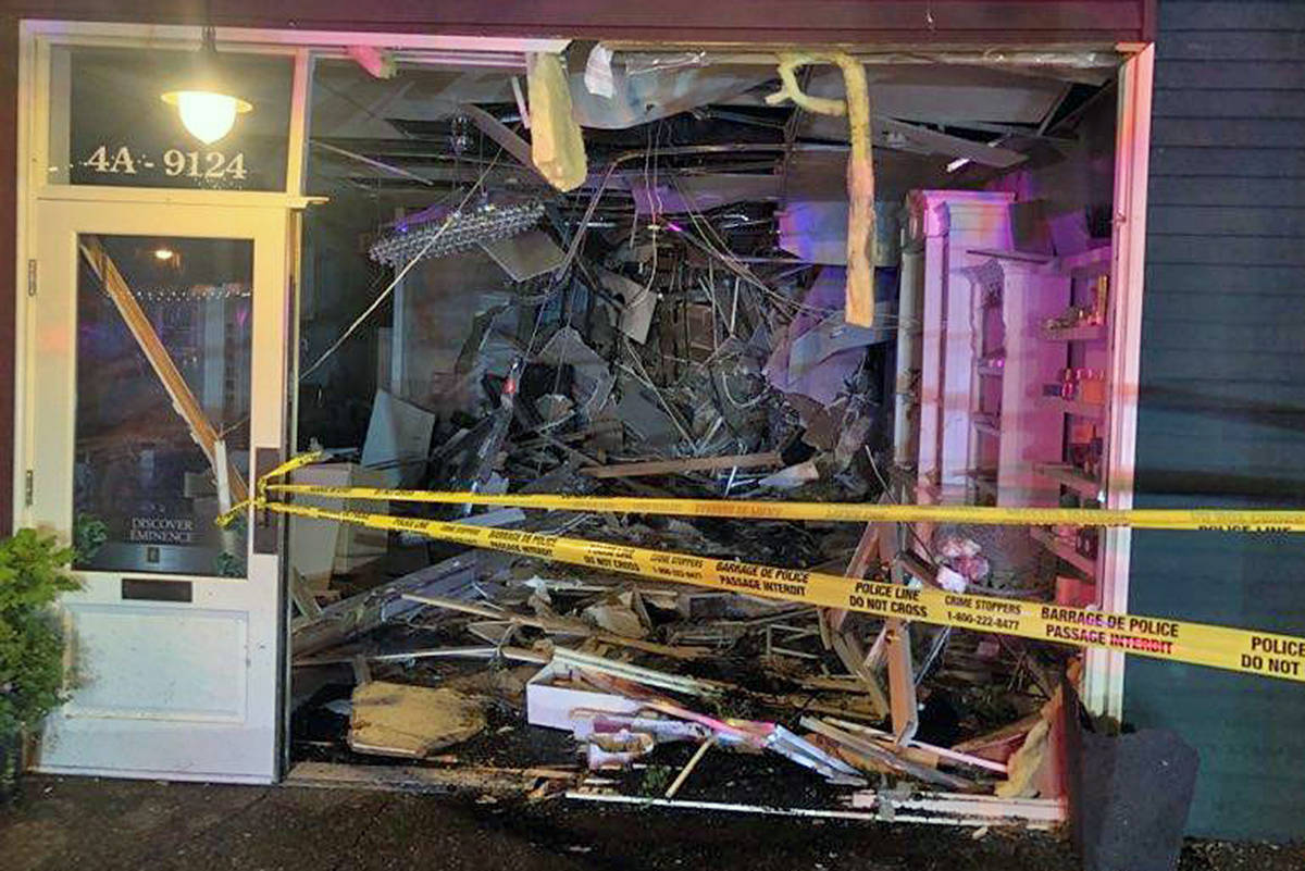 An out-of-control SUV smashed through the front of Su Casa Spa and Laser on Glover Road in Fort Langley early Sunday morning. (Photo courtesy Sandra Jimenez)