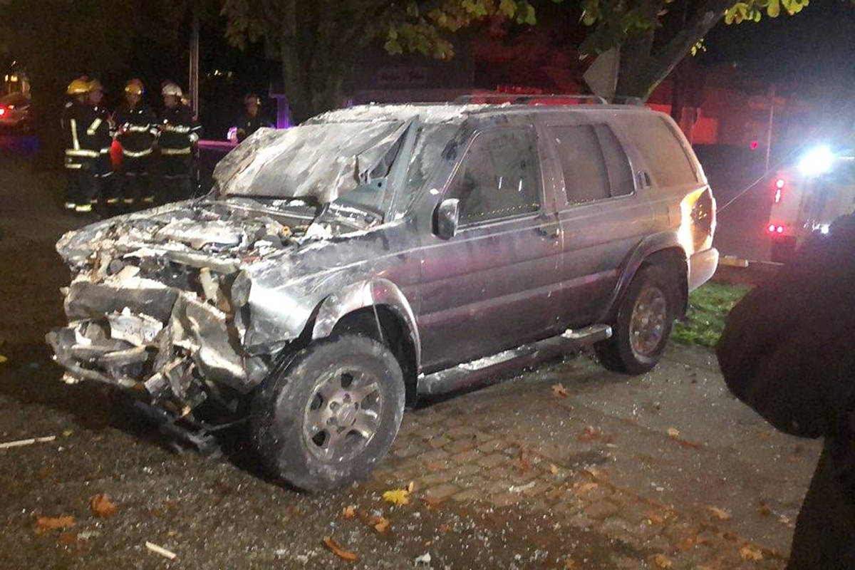 A 31-year-old Langley man blew over the limit after his SUV ended up at the back of Su Casa Spa and Laser in Fort Langley early Sunday morning. (Photo courtesy Sandra Jimenez)