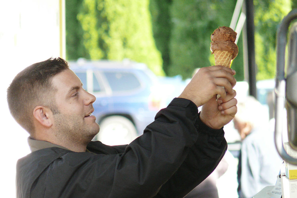 A visitor gets some guilt-free ice cream at the second Fort Langley Vegan Market at the community hall on Saturday, Sept. 28. (Dan Ferguson/Langley Advance Times)