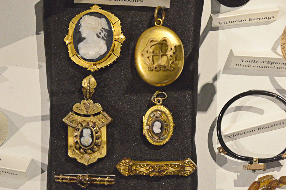 Kathy Blum started collecting jewelry about a decade ago and now has a large collection that includes such things as Victorian brooches and lockets. (Heather Colpitts/Langley Advance Times)