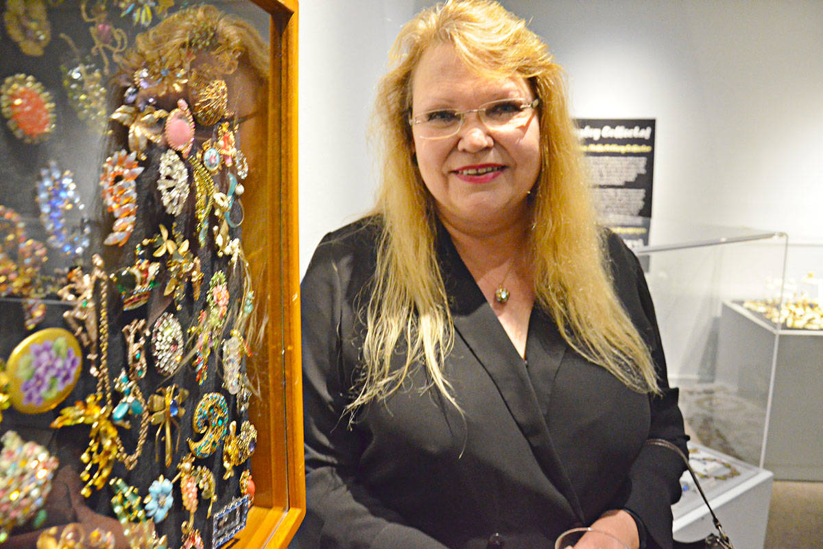 Kathy Blum's jewelry collection ranges from foil backed cut glass items popular in the 1940s and '50s to modern abstract and even ancient pieces. (Heather Colpitts/Langley Advance Times)