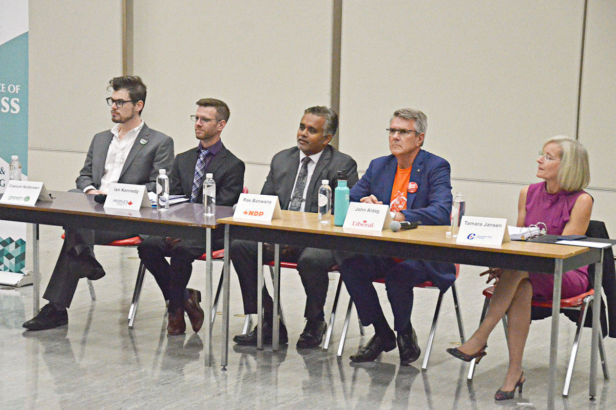 Cloverdale-Langley City federal candidates, from left Caelum Nutbrown (Greens) Ian Kennedy (PPC) Rae Banwarie (NDP) John Aldag (Liberals) and Tamara Jansen (Conservatives), spoke at an all-candidates meeting Monday night in Langley City. (Matthew Claxton/Langley Advance Times)