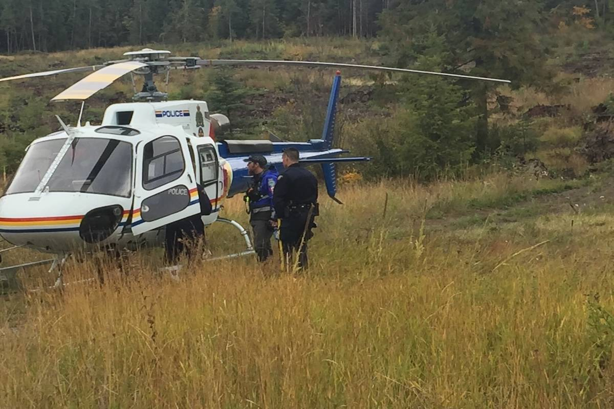 Helicopters and a fixed wing aircraft have been brought in to help search teams find Gordon Solloway, 74 (inset photo), who has been missing since Sept. 27. (Central Okanagan Search and Rescue photo)