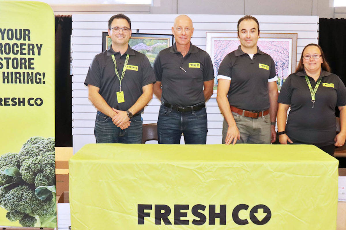 Aldergrove FreshCo owner Ben Wade (from left) held a pop-up job fair with his new department managers Mike Pauls, George Bousserski, and Bambi Bard. (Sarah Grochowski photo)