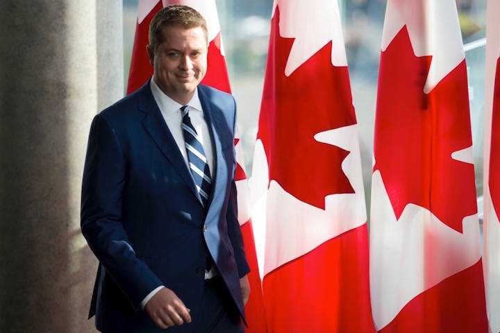 Conservative leader Andrew Scheer arrives for a morning announcement in Toronto Tuesday, October 1, 2019. THE CANADIAN PRESS/Jonathan Hayward