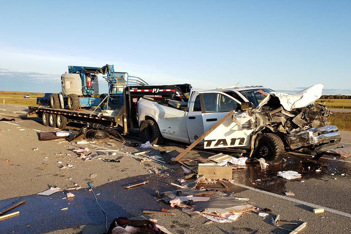 This is the truck that hit a number of vehicles in a chain-reaction collision on Highway 11 on the morning of Wednesday, Sept. 25, 2019. Only minor injuries were reported by police. Photo supplied by Carman Wilson