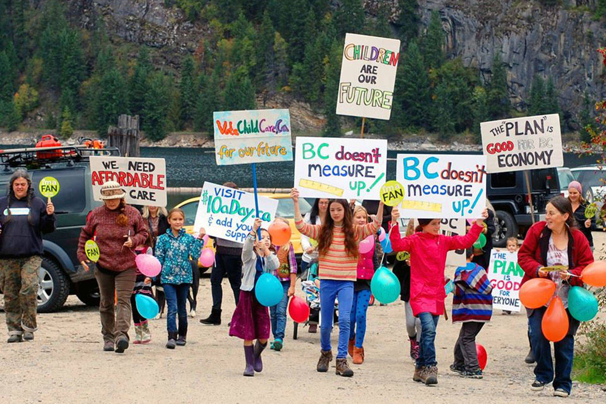 Communites around B.C. have been participating in peaceful local marches to support child care service in the province. (Alicia Rempel/Special to the Langley Advance Times)
