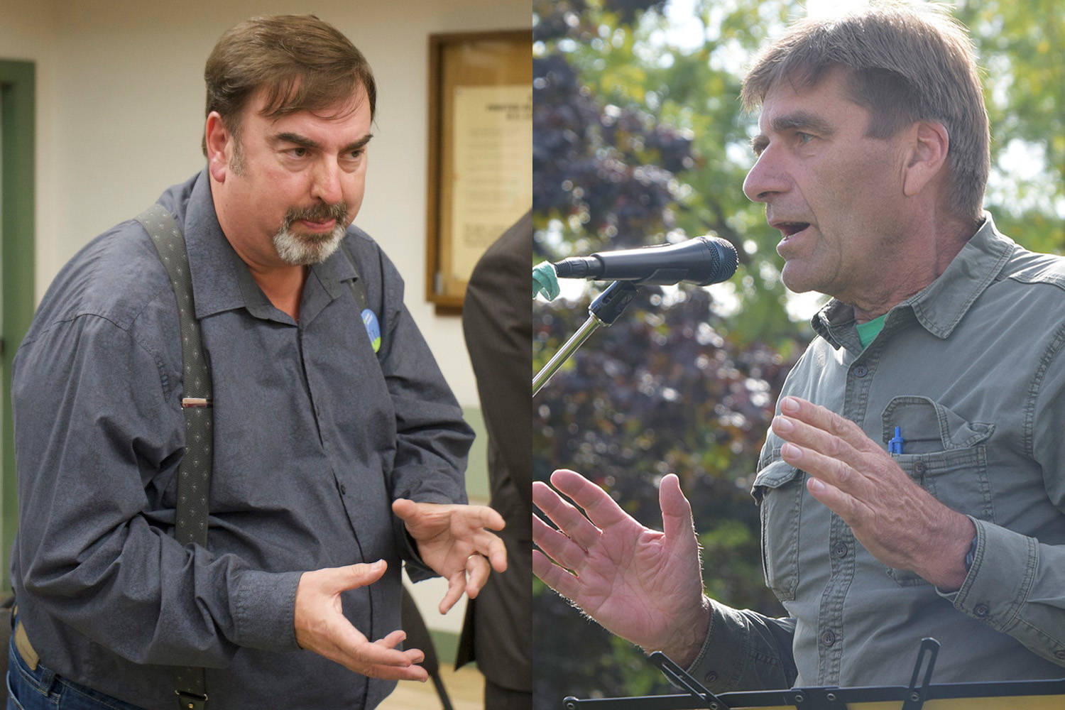 Okanagan Green Party candidates Robert Mellalieu (left) and Marc Reinarz (right) have both been called out by NDP for comments they made about abortion. (File)