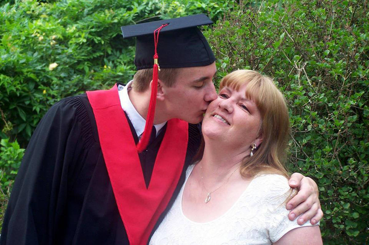 Noah Trulsen and mom Lorraine on his graduation day. (THE NEWS/files)