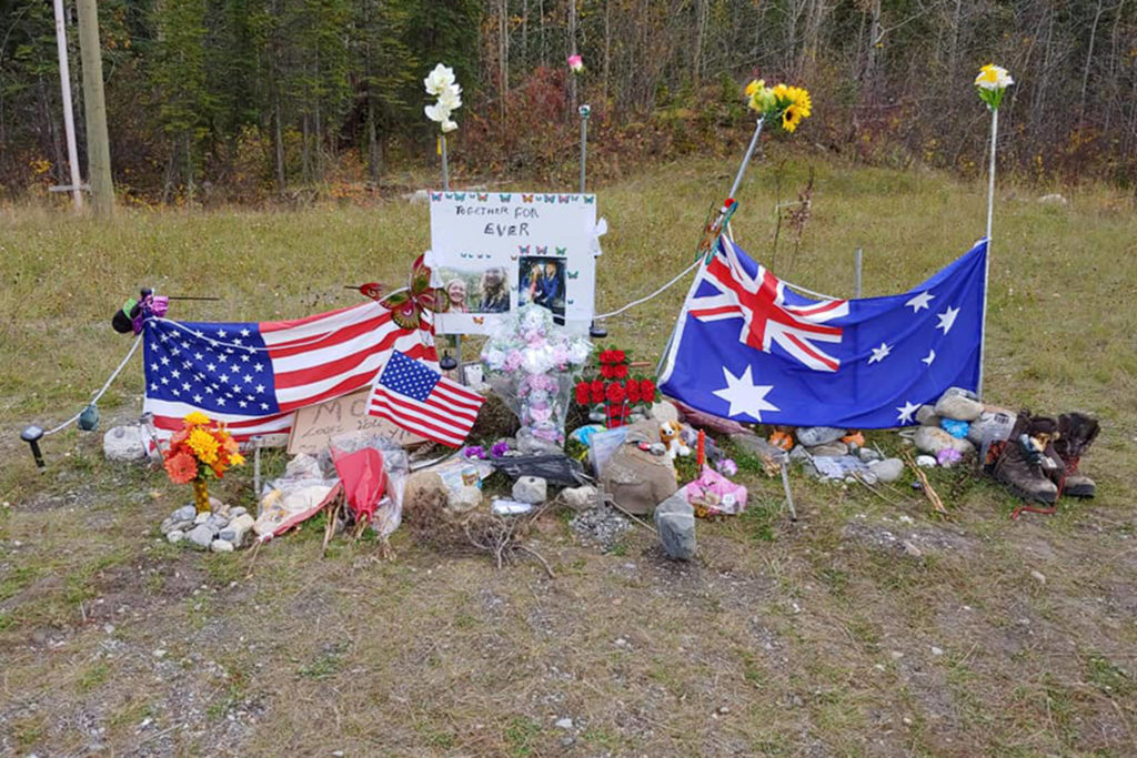 Memorial along the Alaska Highway for murdered tourist couple Chynna Deese and Lucas Fowler on Oct. 4, 2019. (John Van Vyfeyken/Facebook)