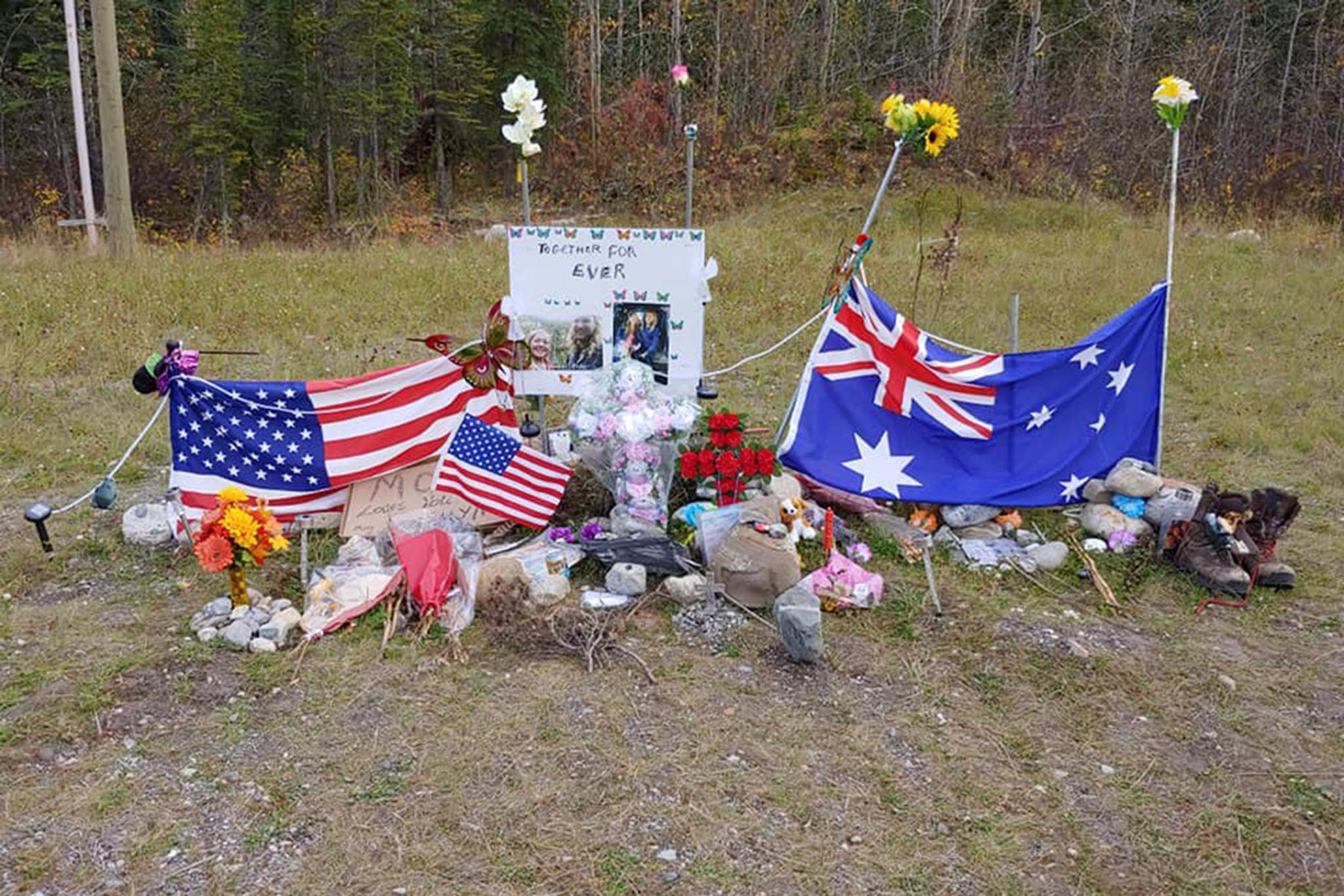 Memorial along the Alaska Highway for murdered tourist couple Chynna Deese and Lucas Fowler on Oct. 4, 2019. (John Van Vyfeyken/Facebook)