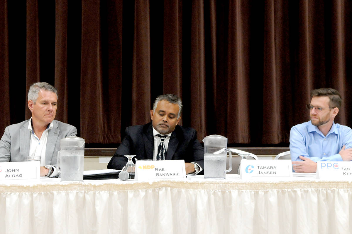 Cloverdale-Langley-City candidates John Aldag (Liberals), Rae Banwarie (NDP), and Ian Kennedy (People's Party of Canada) attended an election debate at Langley Senior Resources Centre on Monday afternoon. (Ryan Uytdewilligen/Langley Advance Times)