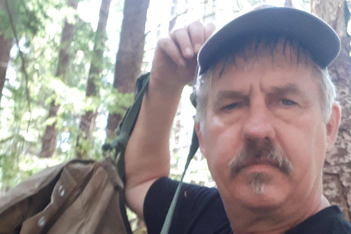 """Neil Horner, known as """"Mushroom Savage"""" at the Qualicum Beach Farmers' Market, says his last mushroom picking adventure was a """"close call"""" after he fell and dislocated his shoulder deep in the Vancouver Island bush. SUBMITTED PHOTO"""