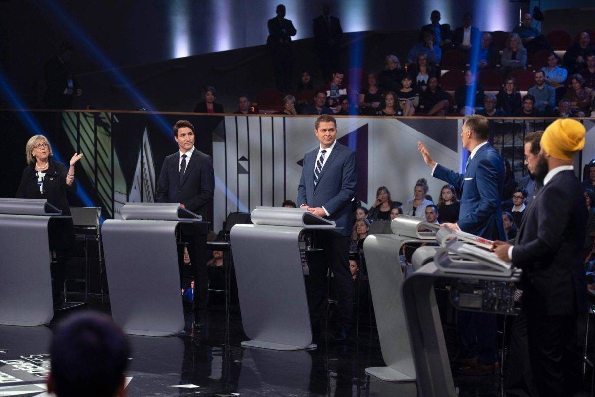 Green leader Elizabeth May, Liberal leader Justin Trudeau, Conservative leader Andrew Scheer, People's Party leader Maxime Bernier, Bloc Quebecois leader Yves-Francois Blanchet and NDP leader Jagmeet Singh debate in Gatineau, Quebec, Oct. 7, 2019. (The Canadian Press)