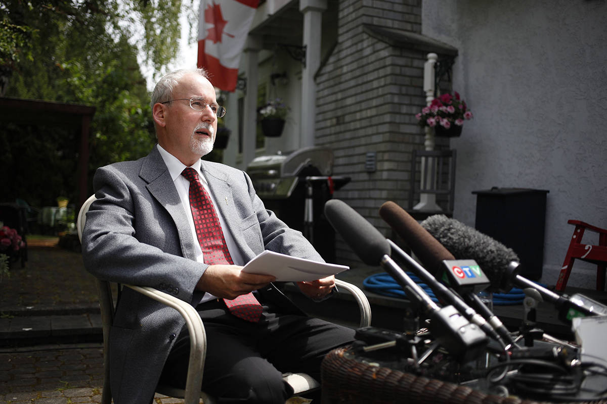 Suspended Sgt-at-arms Gary Lenz gives an interview from his backyard after being cleared of misconduct in a report by the Supreme Court justice while at his home North Saanich, B.C., on Thursday, May 16, 2019. THE CANADIAN PRESS/Chad Hipolito