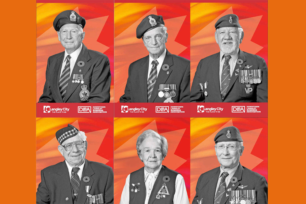 The Downtown Langley Business Association has many banners featuring photos of local veterans and would like to find those veterans or their families to present them with commemorative banners. Here are just six of the many banners that were created.