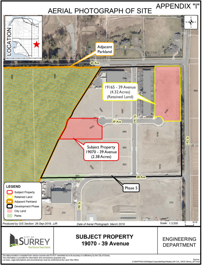 The sale of a Campbell Heights Business Park property was the subject of hot debate at Surrey council this week. (Contributed)