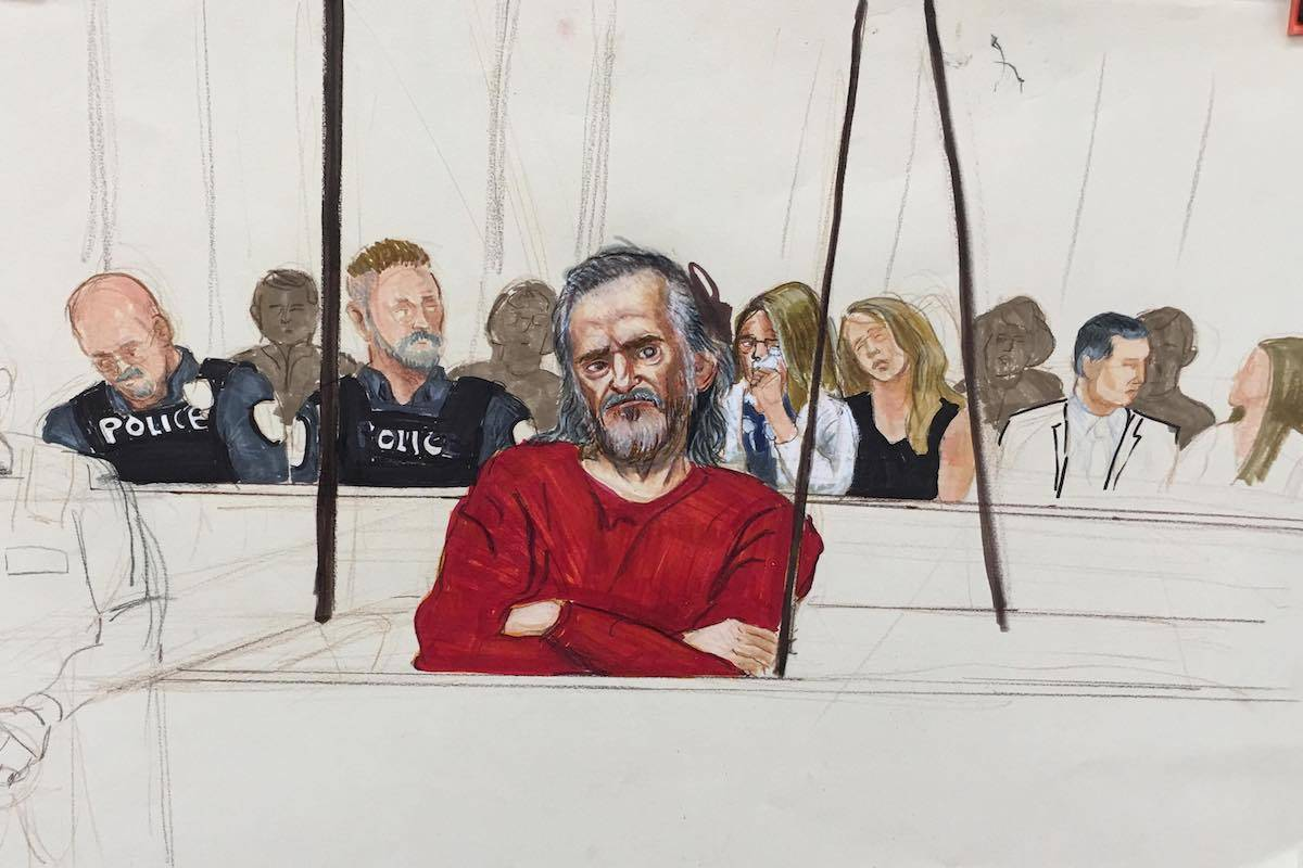 Oscar Arfmann listens to closing arguments on Aug. 1 during his trial for the first-degree murder of Abbotsford Police Const. John Davidson. (Sketch by Felicity Don)