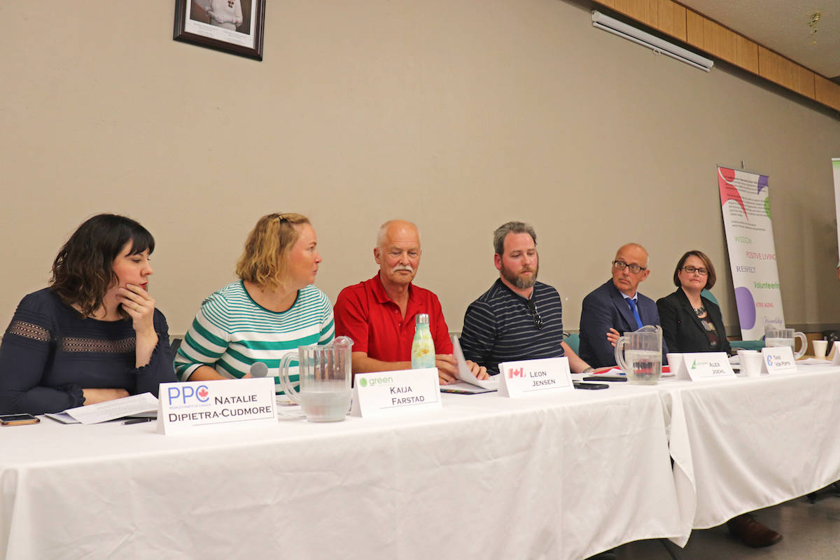 From left: Natalie DiPietra-Cudmore of the People's Party of Canada (PPC), Kaija Farstad of the Green Party, Leon Jensen of the Liberal Party, Libertarian Alex Joehl, Tako van Popta of the Conservatives, and Stacey Wakelin of the NDP, addressed a range of topics at the debate. (Sarah Grochowski photo)
