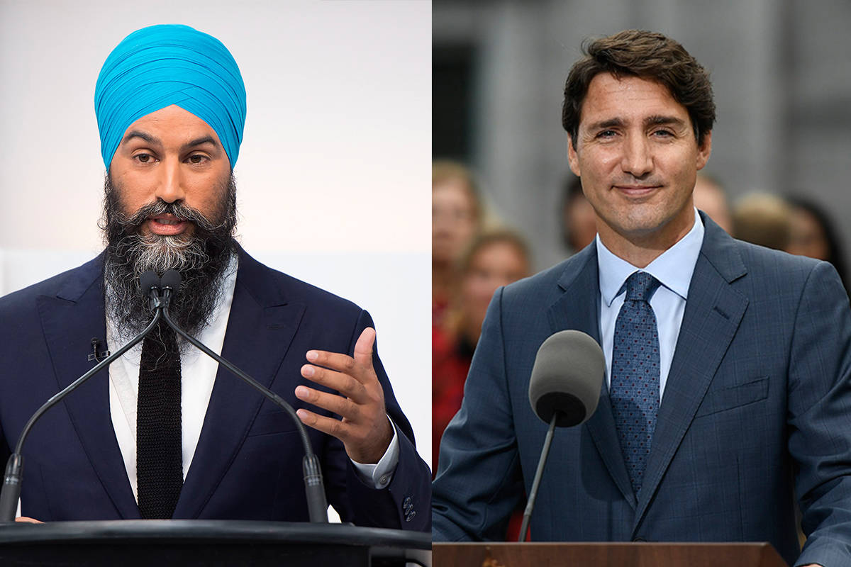 NDP Leader Jagmeet Singh, left, and Liberal Leader Justin Trudeau. (The Canadian Press)