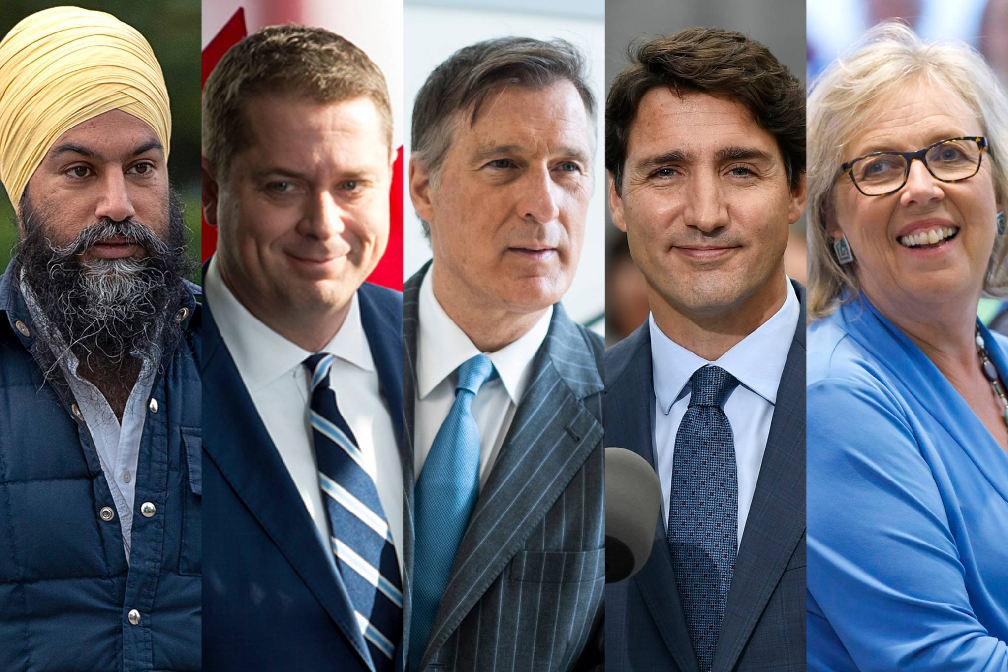 All five party leaders running outside of Quebec in the upcoming 2019 federal election. (The Canadian Press photos)