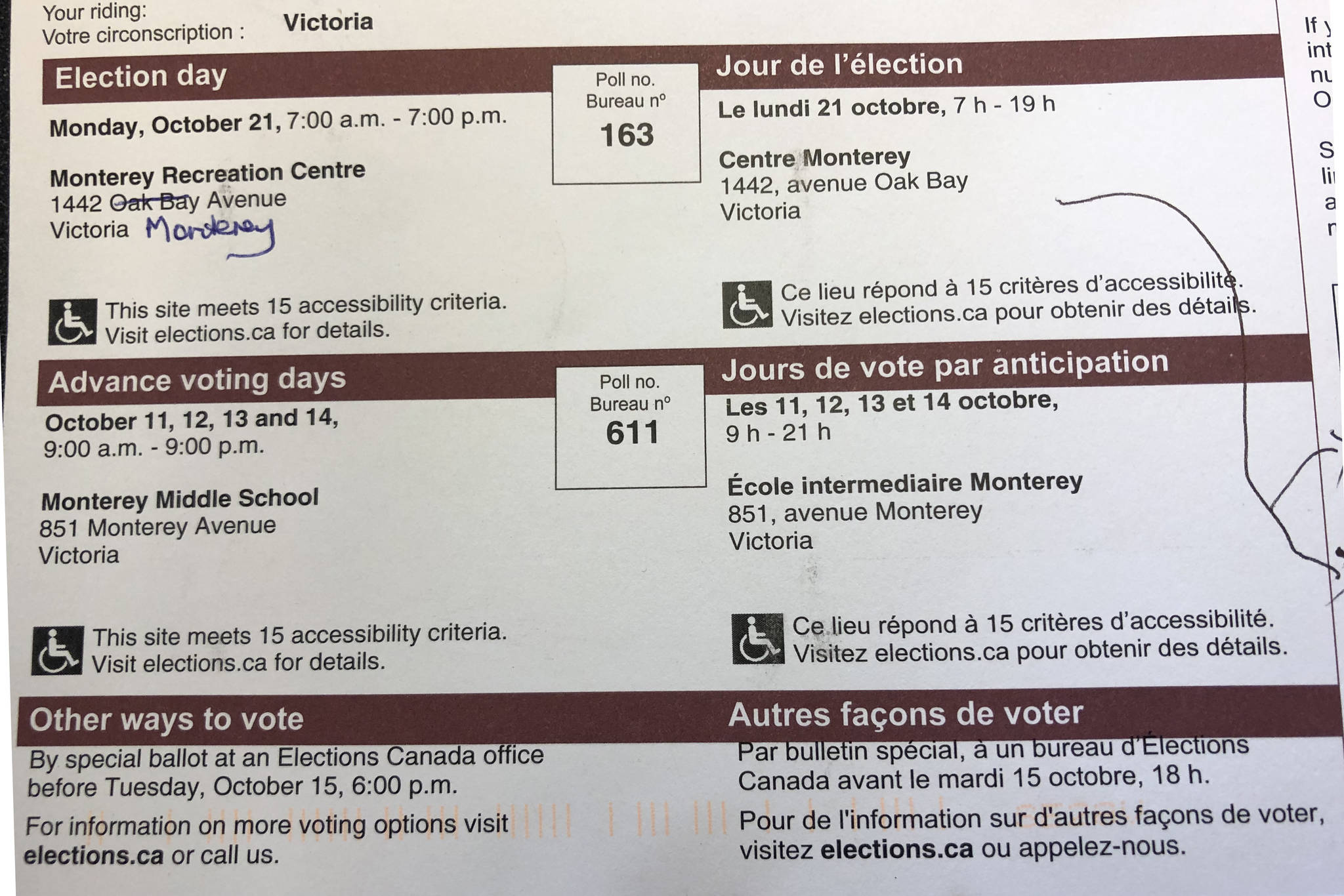 Oak Bay resident Cheryle Scott noticed her voter card has the wrong address for the Monterey Recreation Centre. (Travis Paterson/News Staff)