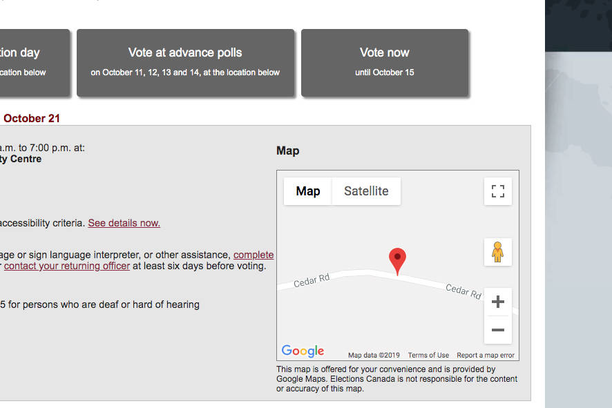 A screenshot of Elections Canada's website showing a map directing voters to the wrong end of Cedar Road. (Elections Canada image)