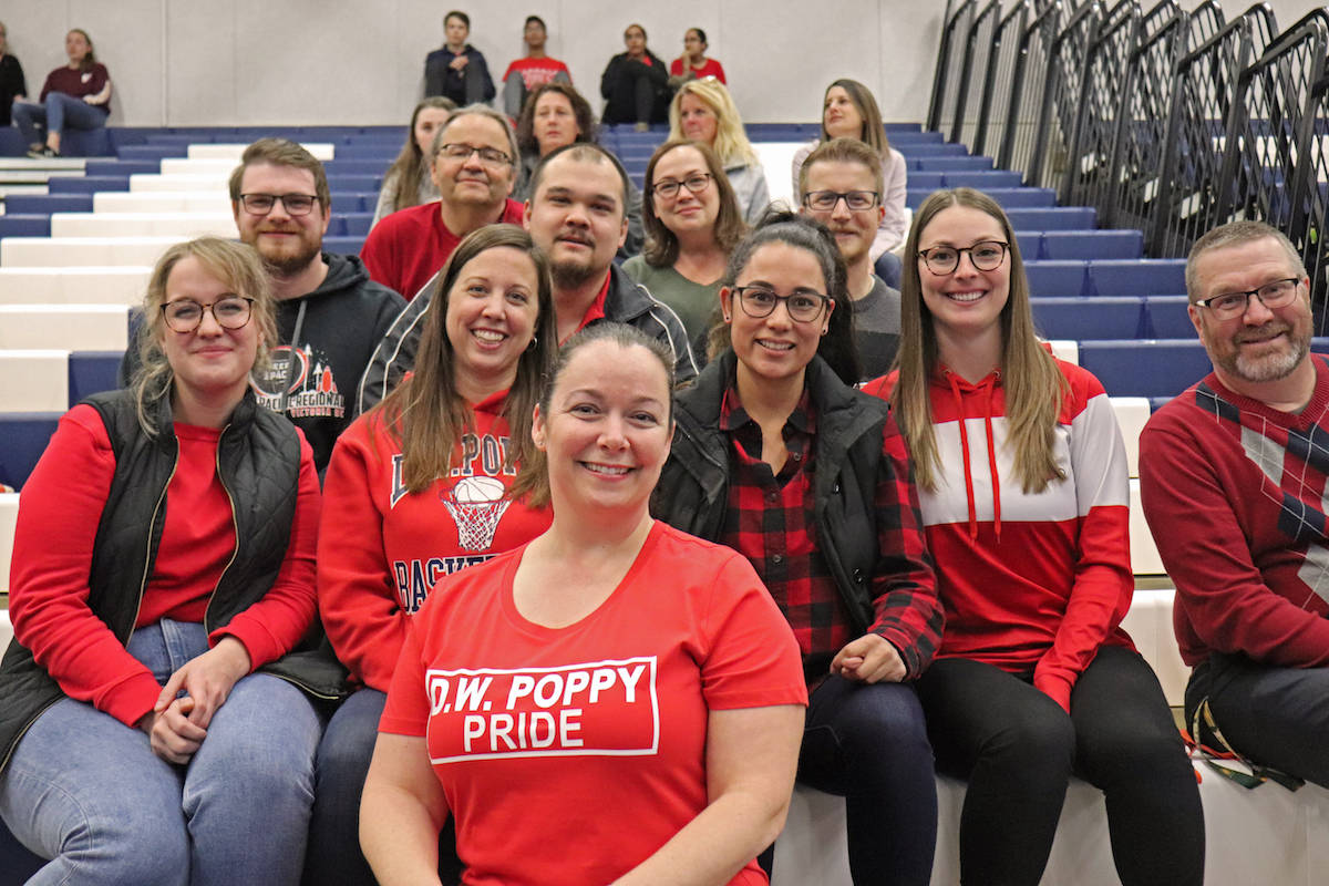 D.W. Poppy teachers also attended the input meeting in a sea of red. (Sarah Grochowski photo)