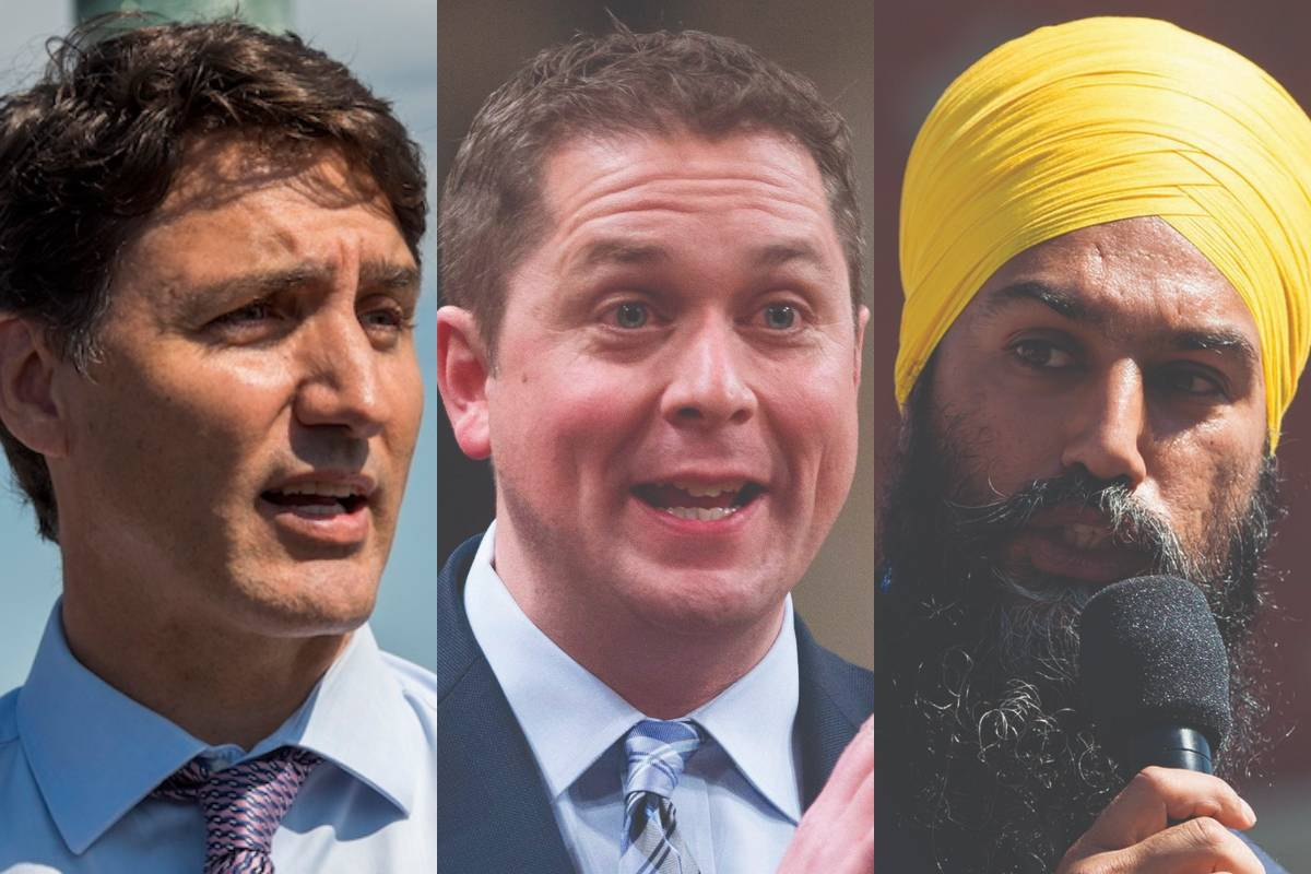 Liberal leader Justin Trudeau, Conservative leader Andrew Scheer and NDP leader Jagmeet Singh kick off the last week of their campaigns towards an Oct. 21 federal election. (Black Press file photo).