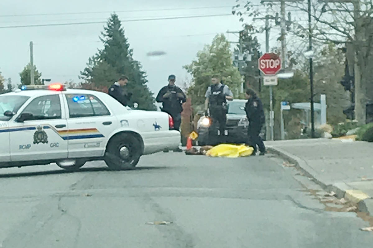 A dog was shot at 128 Street and 16 Avenue in Surrey Sunday morning. (Stephanie Alldritt photo)