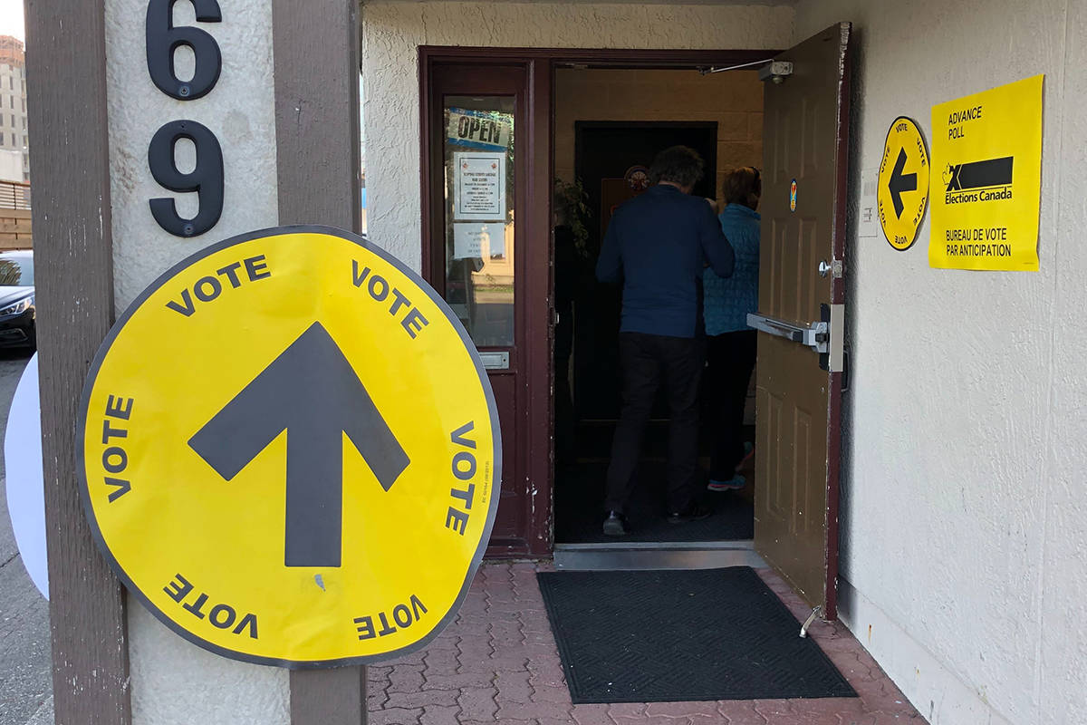 Elections Canada workers said a polling station in White Rock, B.C., was busy all weekend. (Katya Slepian/Black Press Media)