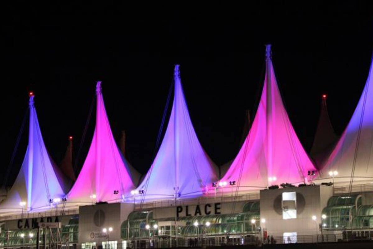 The Sails of Light at Canada Place in Vancouver will illuminate in pink and blue in support of Pregnancy and Infant Loss Awareness Day on Oct. 15, 2019. (october15.ca photo)