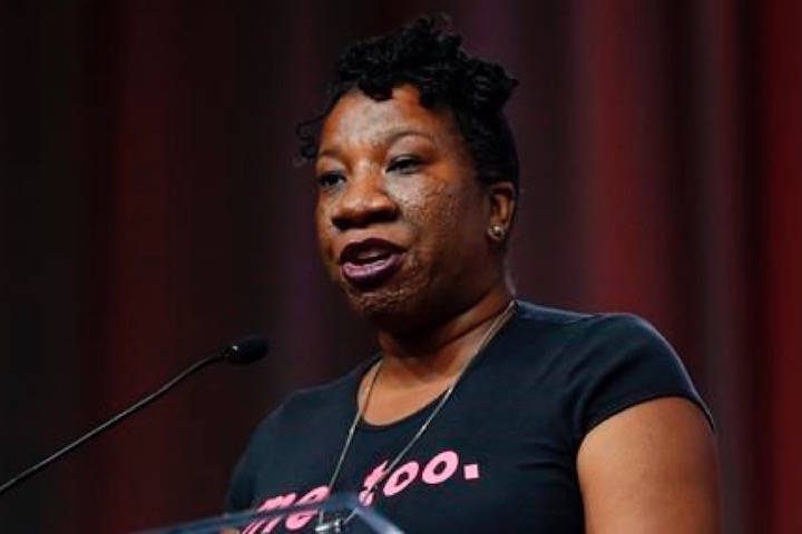 In this Oct. 27, 2017 photo, Tarana Burke, founder, #MeToo Campaign, appears at the Women's Convention in Detroit. (AP Photo/Paul Sancya)