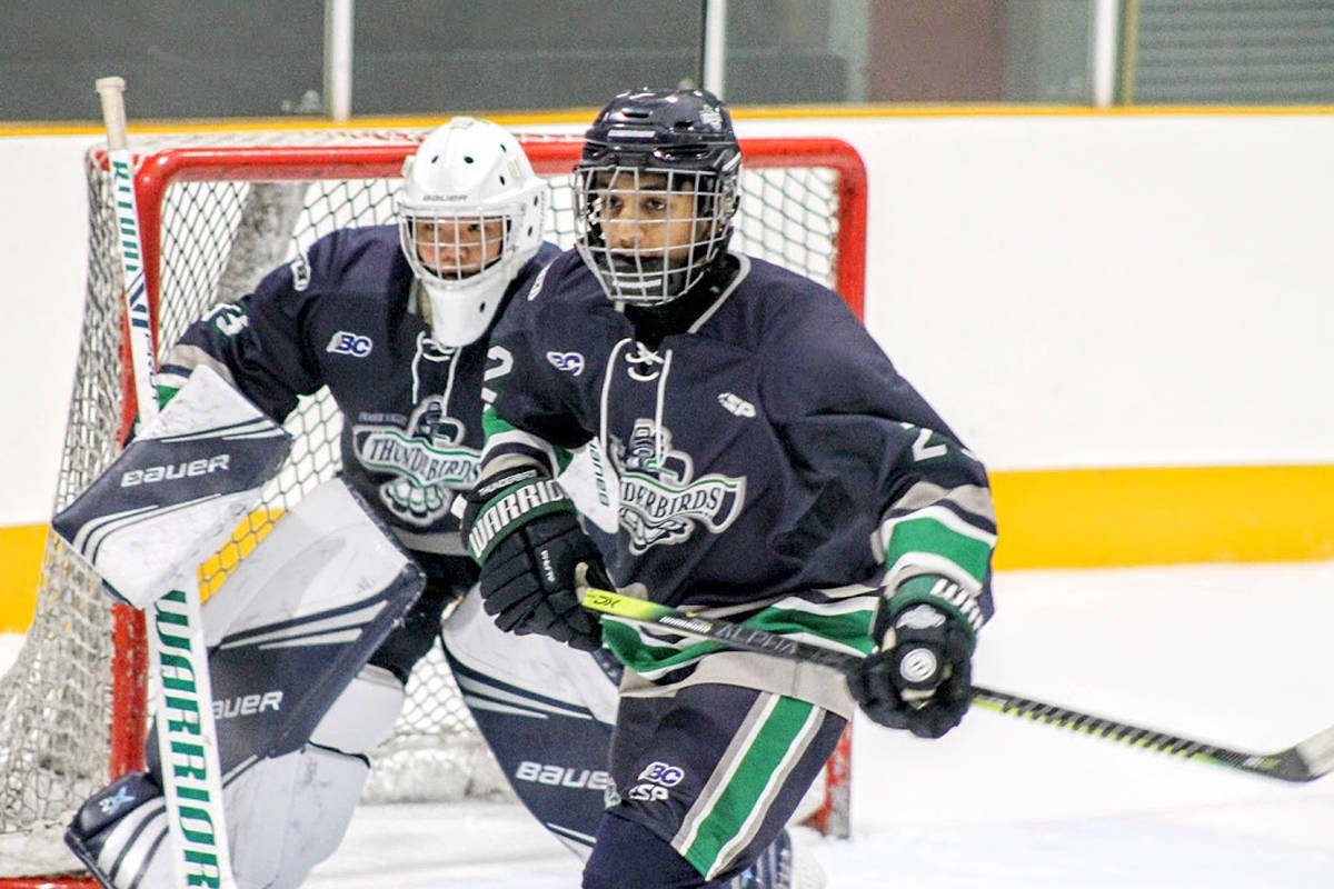 Major Bantam Fraser Valley Thunderbirds defeated the Shawnigan Lake Prep team 3-2 in play at the invitational tournament held over the Thanksgiving Day long weekend at at Sardis Sports Complex. (Supplied)