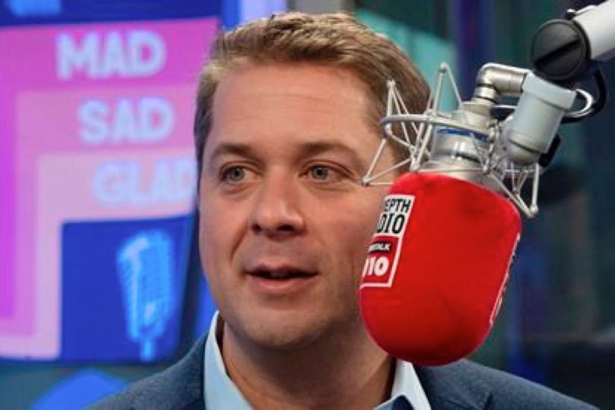 Conservative Leader Andrew Scheer participates in a radio interview in Toronto, Ont. Thursday October 17, 2019. THE CANADIAN PRESS/Adrian Wyld