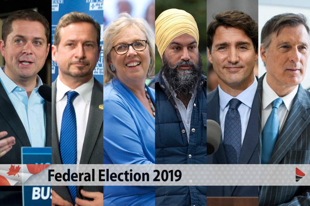 All six federal leaders. (Black Press file photo)