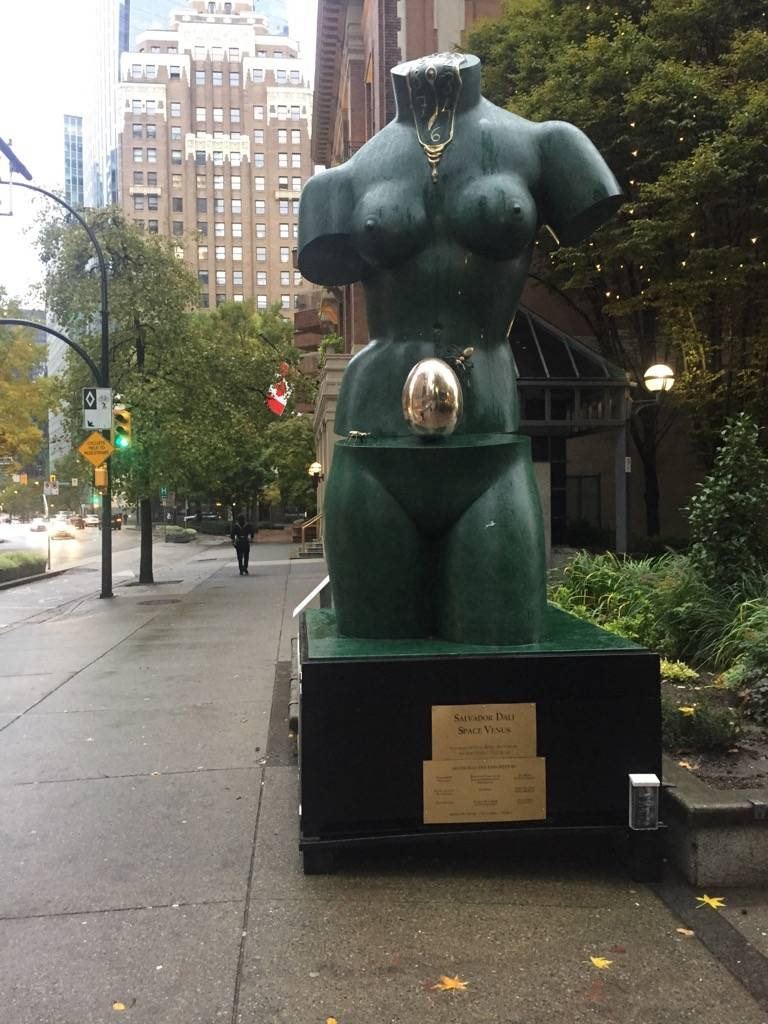 The golden egg that was stolen from the $2.8 million Salvador Dali sculpture Space Venus, on loan to the Chali-Rosso Art Gallery in Vancouver, was replaced by Oct. 20, 2019 with a bronze egg made by local artist Richard Forbes. (Richard Forbes/Submitted photo)