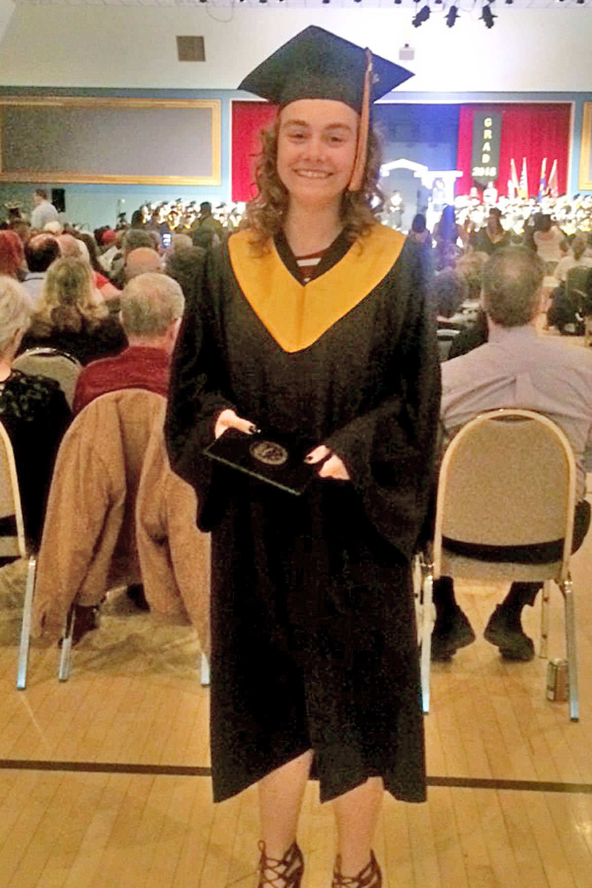 Faith Liberty Unger, 19, was killed in a crash along Highway 20 west of Williams Lake early Saturday morning. Here Faith is pictured attending her high school graduation in Prince George in June of 2018. (Photos submitted)