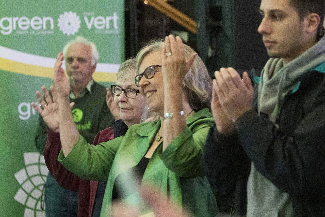 Green Party of Canada leader Elizabeth May is all smiles at the Green Party of Canada's election night party at the Crystal Gardens in Victoria. (Arnold Lim / Black Press) B.C. October 21, 2019.
