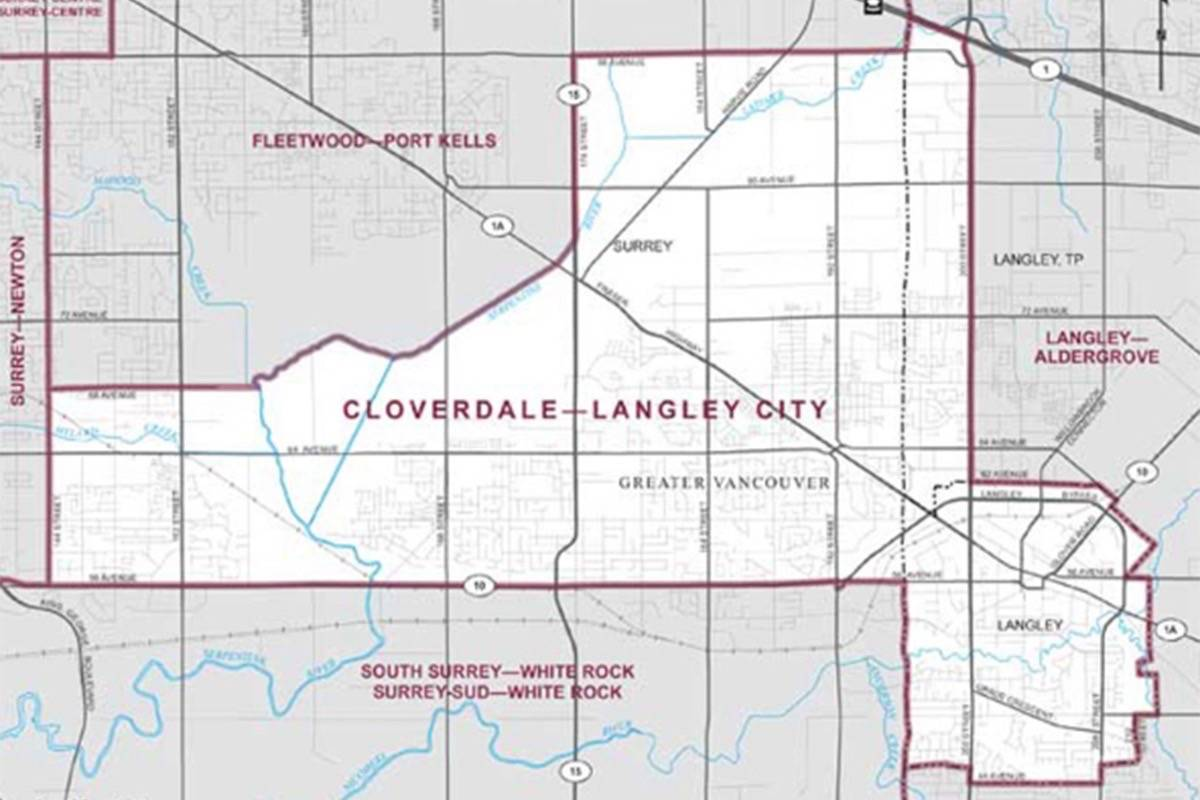 Map shows the boundaries of the Cloverdale-Langley City riding. (Photo: Elections Canada)
