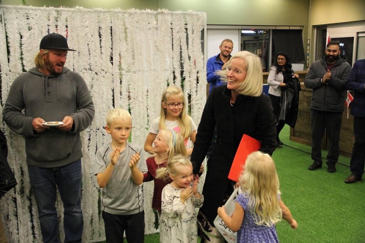 Tamara Jansen embraces her grandchildren after winning the Cloverdale-Langley City riding over the Liberal incumbent John Aldag. (Photo: Malin Jordan)