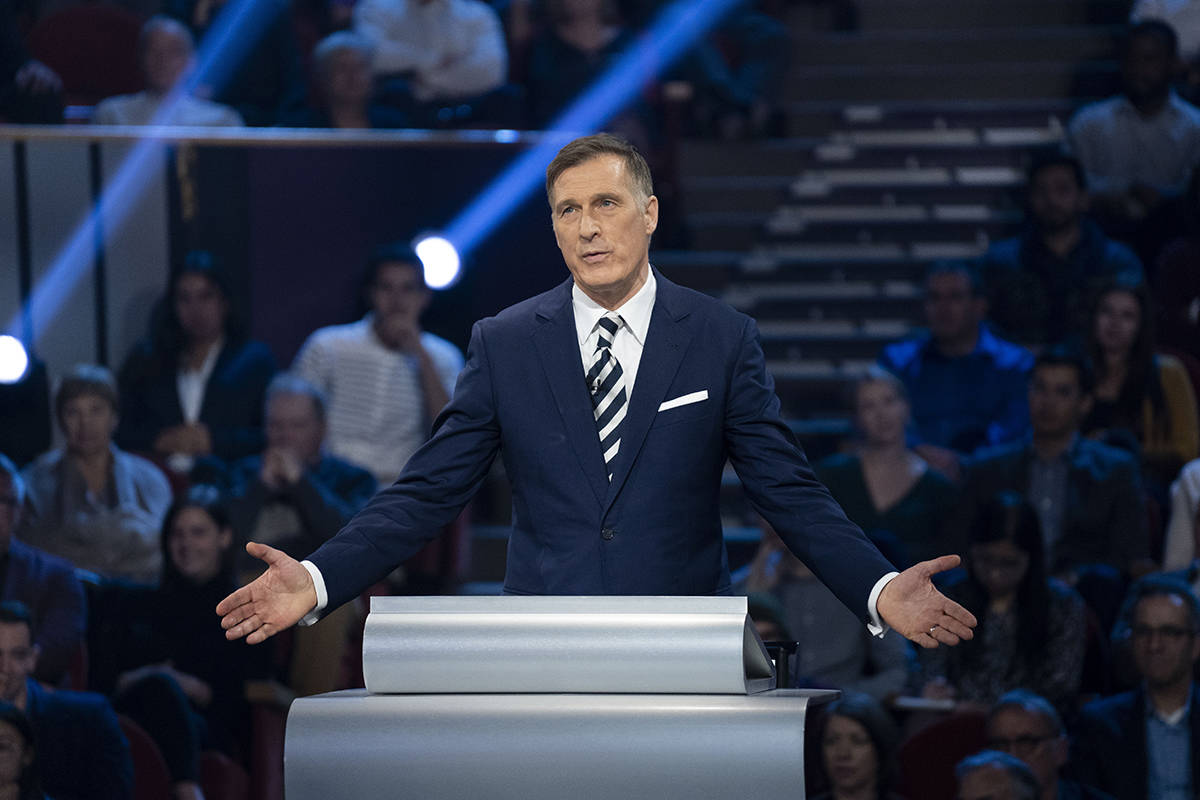 People's Party of Canada leader Maxime Bernier speaks during the Federal leaders French language debate in Gatineau, Que. on Thursday, October 10, 2019. THE CANADIAN PRESS/Chris Wattie